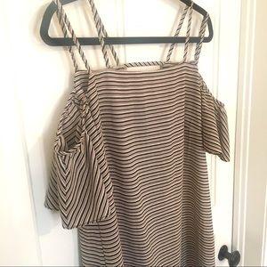 MSK off the shoulder striped midi dress
